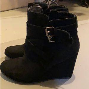 Madison suede wedge booties